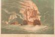 Momento en que los navíos San Hermenegildo y Real Carlos arden abarloados uno con otro.