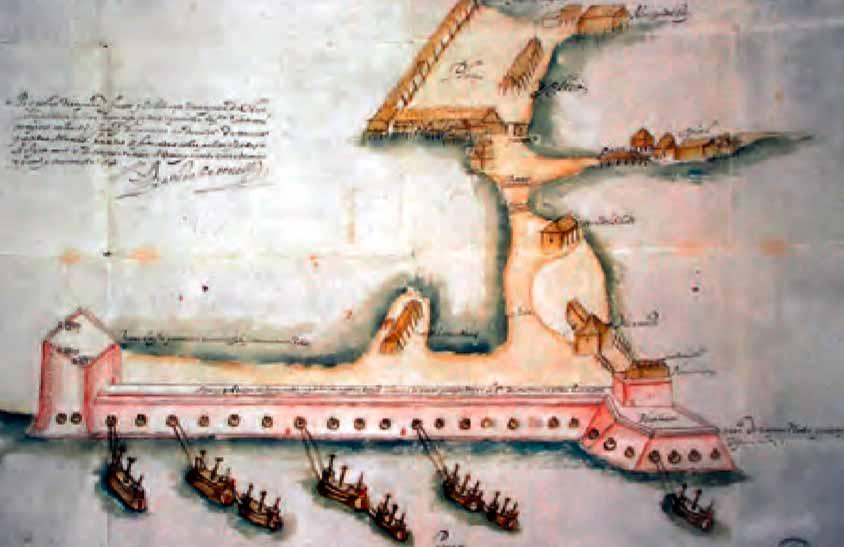 Acuarela del fuerte de San juan de Ulúa en Veracruz