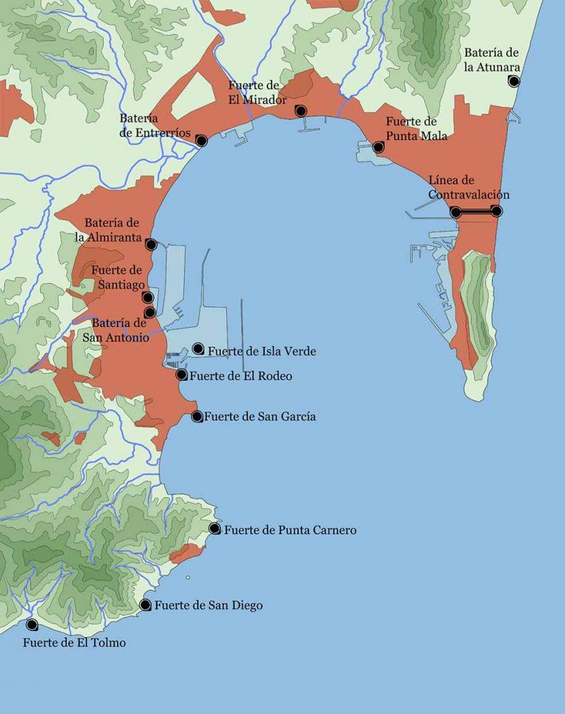 Mapa indicativo de los fuertes costeros en el termino municipal de Algeciras,