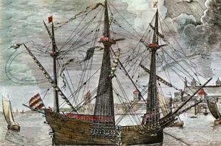 Galeón del Siglo XVI como los utilizados durante la conquista de la Isla Tercera en 1583