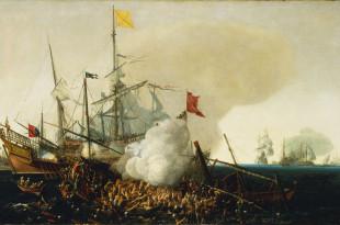 Galeón español combatiendo contra galeras turcas