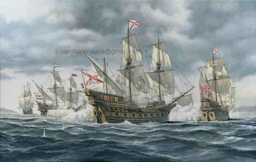 Galeones del rey. Pintura de Carlos Parrilla