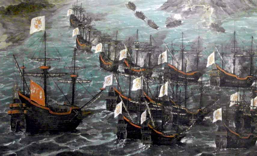 Galeones españoles en la Isla de San Martín