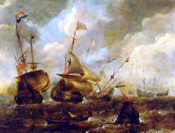 Combate naval entre galeones holandeses y españoles