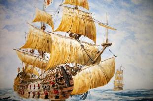 Pintura de dos galeones españoles del siglo XVII