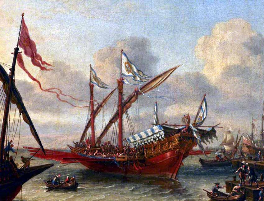 Una galera cristiana saliendo de un puerto del Mediterráneo