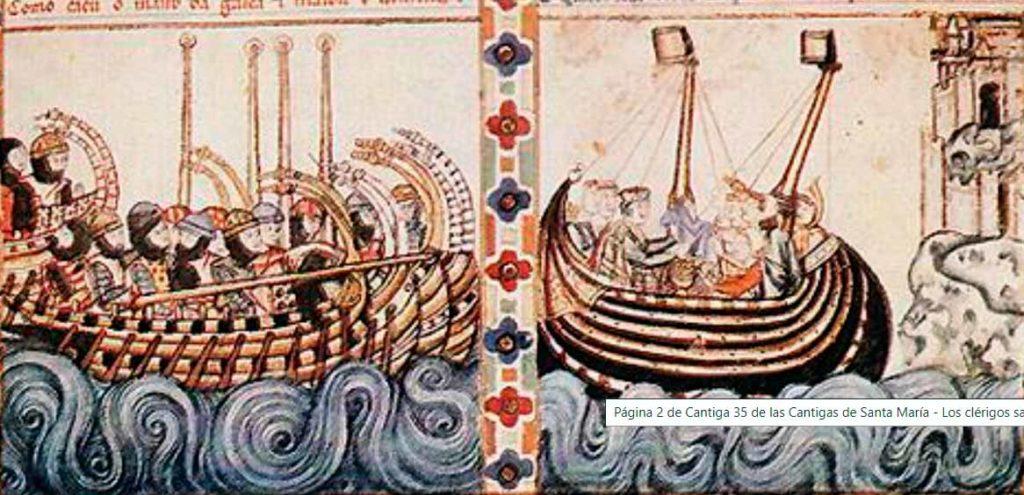 Galera medieval persiguiendo una embarcación pirata.