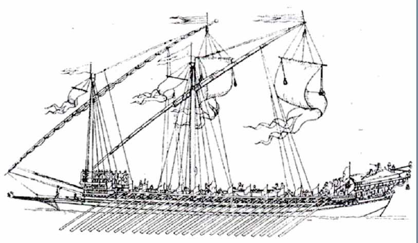 Grabado de galera de la primera mitad del siglo XVIII