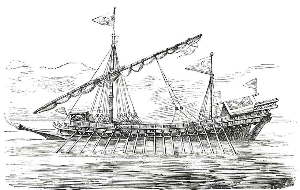 Grabado de una galera turca del siglo XVII