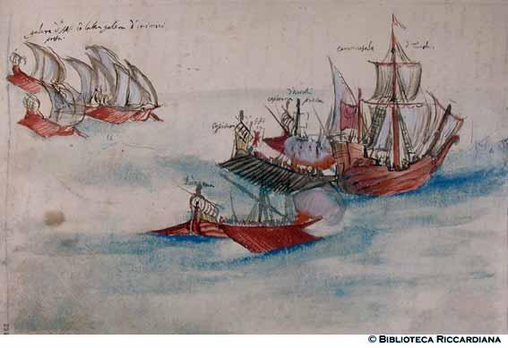 Galeras atacando un caramuzal turco
