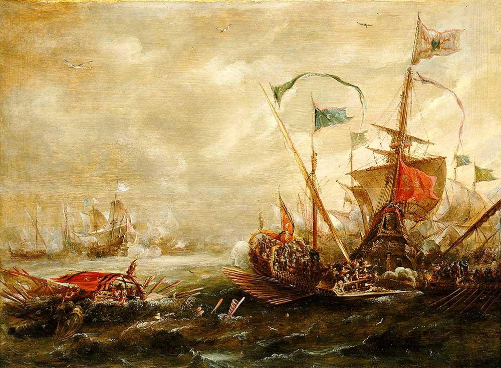 Galeón español combatiendo contra galeras berberiscas