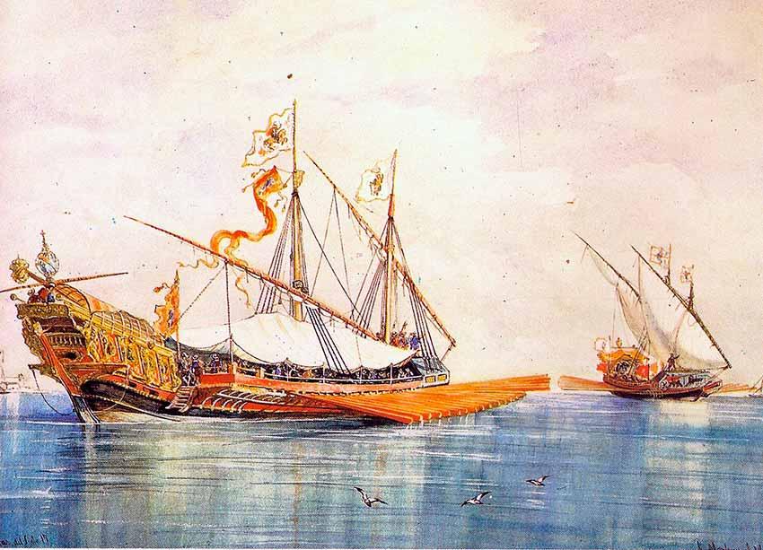 Galeras del siglo XVII. Rafael Monleón Torres. Acuarela de 1886