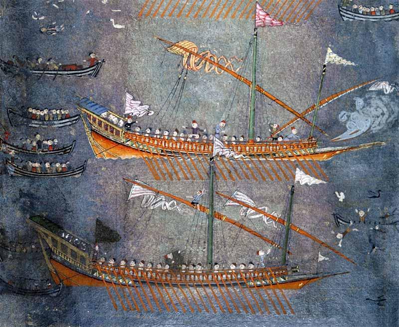 Galeras turcas parecidas a las de la escuadra del capitán renegado Arzan