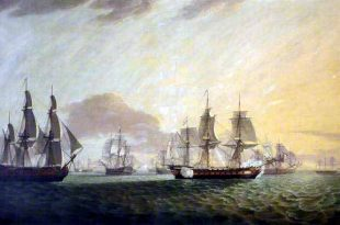 "General Goddard, HMS Scepter y Swallow capturando un ""Dutch East Indiamen"", por Thomas Luny; Museo Marítimo Nacional de Londres."