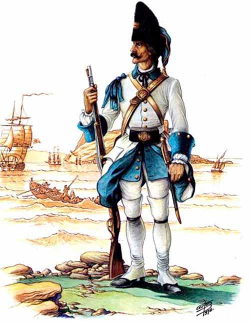 """Granadero del Regimiento de infantería """"Cantabria"""". Aproximadamente 1727"""