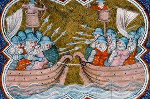 Ejemplo de guerra en el mar en la Baja Edad Media