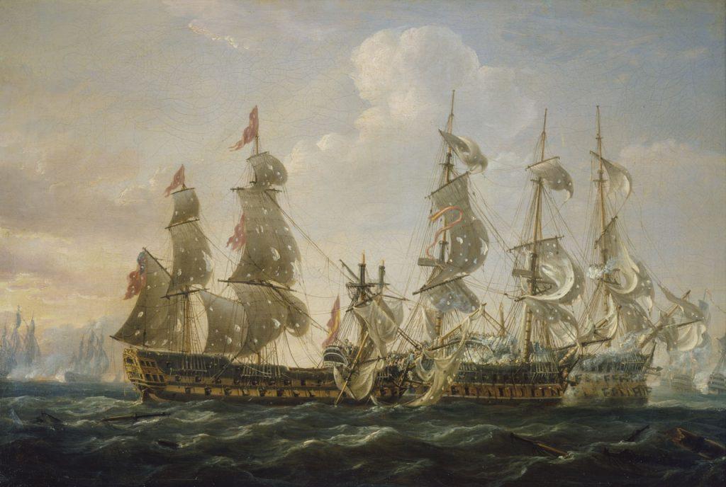"""""""El 'Captain' capturando el 'San Nicolás' y el 'San José' en la Batalla del Cabo de San Vicente, el 14 de febrero de 1797"""". Pintura de Nicholas Pocock. Royal Museums Greenwich."""