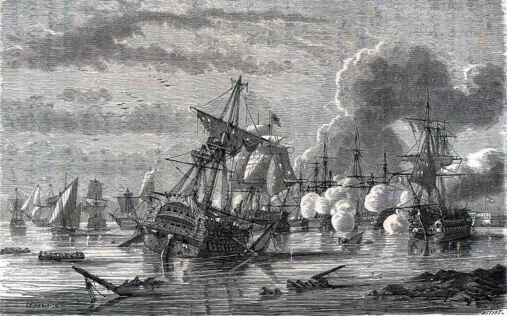 El navío británico HMS Hannibal queda embarrancado durante la batalla de Algeciras