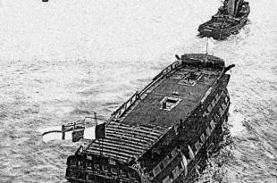 El navío de línea HMS Implacable a punto de ser hundido