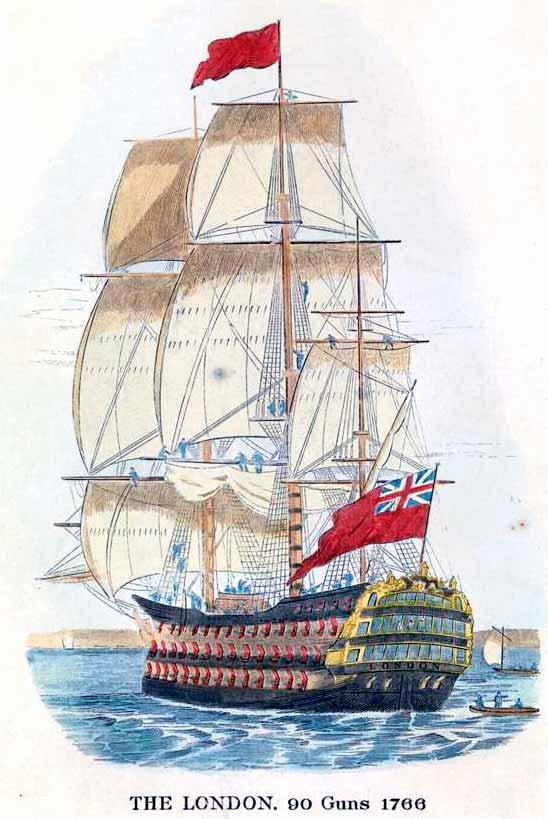 El navío HMS London, insignia del Vicealmirante Colpoys