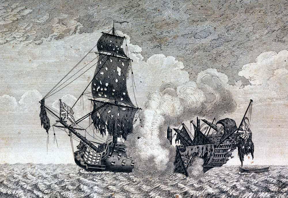 El navío británico HMS Marlborough, de 90 cañones, tras la batalla de Tolón en 1744