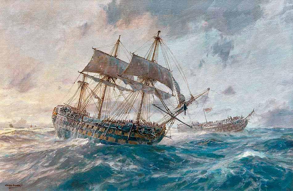 Navío británico HMS Mars tras la batalla de Trafalgar