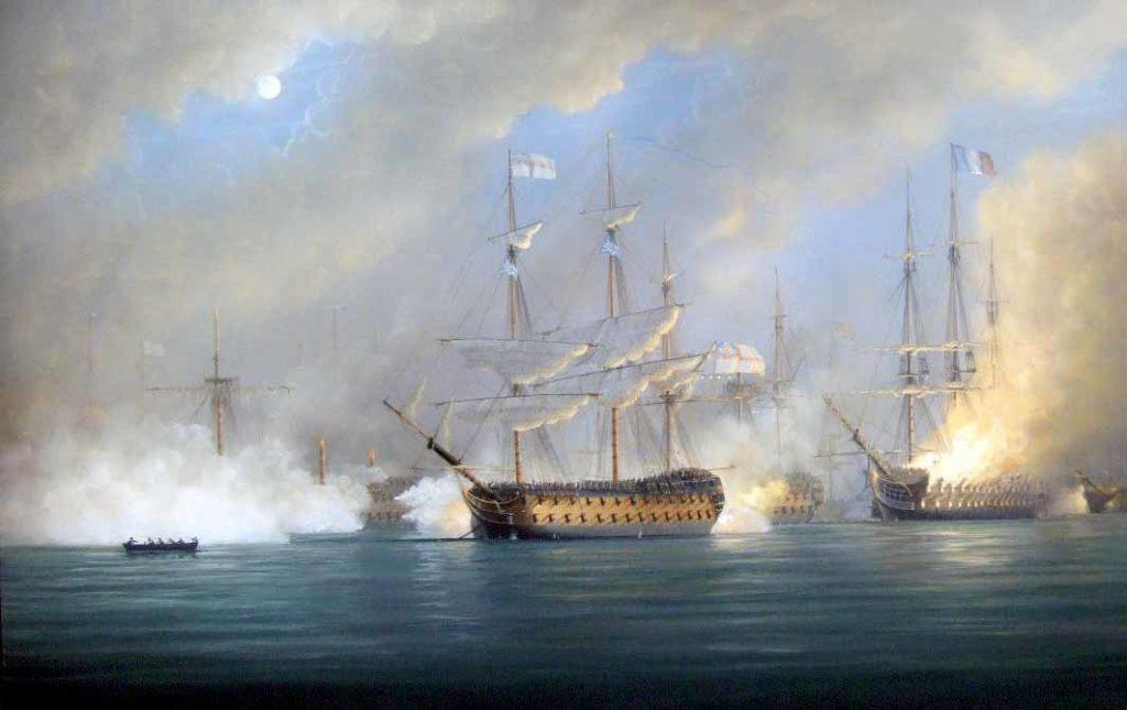 Navío HMS Orion en la batalla de Aboukir o del Nilo, 1798