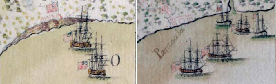 Vistas de los buques HMS Port Royal y HMS Mentor
