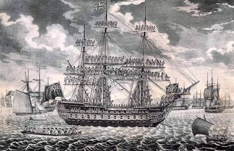 El HMS Queen Charlotte en Spithead. Este era el buque insignia del almirante Howe, comandante de las fuerzas navales británicas en la crisis de Nutka e 1790. Grabado de John Fairburn.
