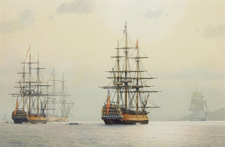 Navío HMS Royal George, de 100 cañones. Pintura de  Derek G.M. Gardner.