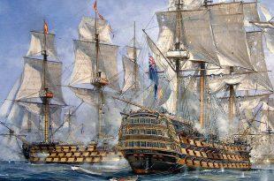 """""""HMS Royal Sovereign primero en la línea""""."""