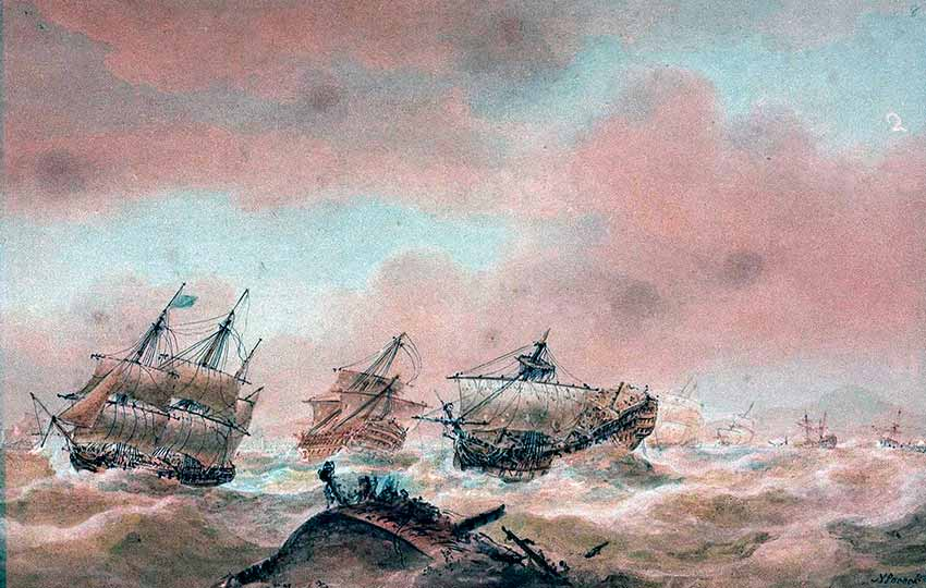 El navío HMS Royal Sovereingn remolcado por la fragata HMS Euryalus tras la batalla de Trafalgar.