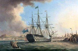 Vista del navío HMS San Josef en su servicio en la Royal Navy.