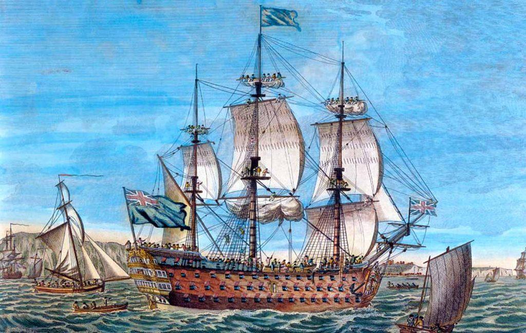 Grabado del HMS Victory a finales del siglo XVIII