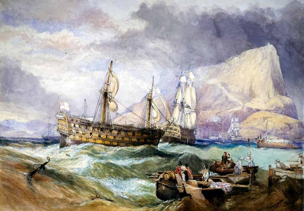 HMS Victory remolcado a Gibraltar por el HMS Neptune después de la batalla de Trafalgar.