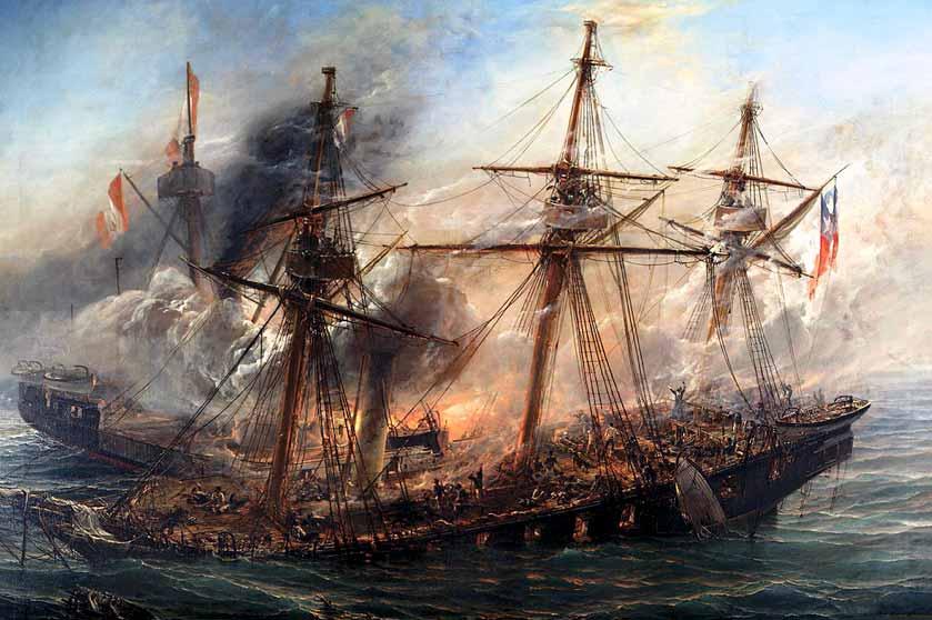Hundimiento de la corbeta Esmeralda en el combate naval de Iquique