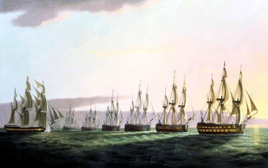 """Uno de los últimos propietarios del East Indiaman """"General Goddard"""", Robert Wigram, mandó pintar a Thomas Luny el combate que sostuvo este buque contra el convoy holandés en 1795."""