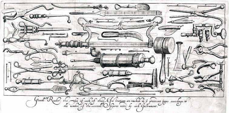 Instrumentos del médico cirujano de a bordo