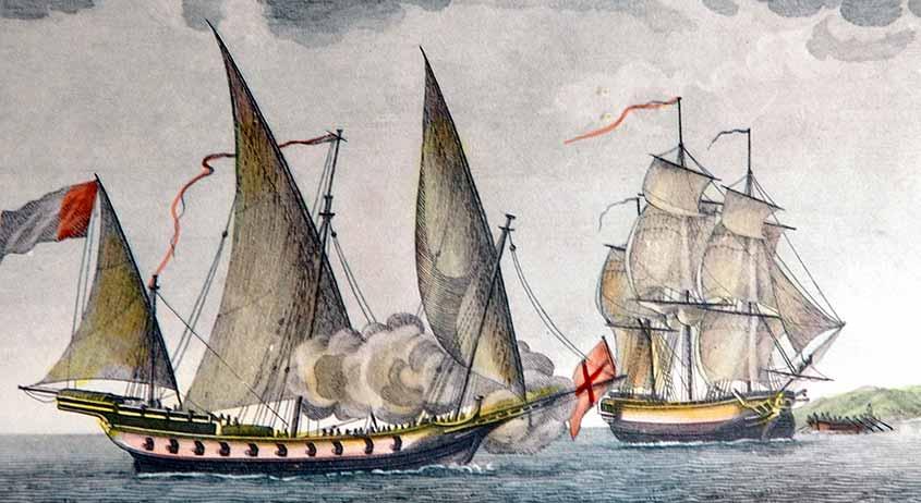 Jabeque argelino atacando a un buque mercante
