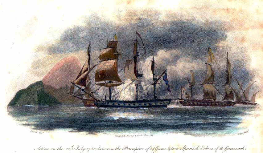 Jabeques españoles combatiendo con la fragata HMS Porcupine.