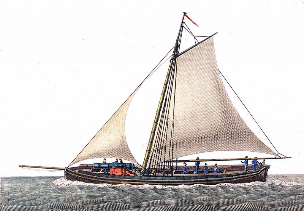 Lancha cañonera española de finales del siglo XVIII y principios del XIX.