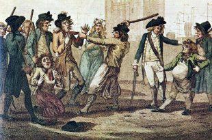 caricatura de una leva de marineros en Inglaterra en 1780.