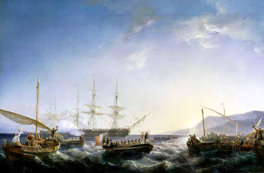 Llegada de Napoleón a Francia en 1799 a bordo de la fragata Muiron