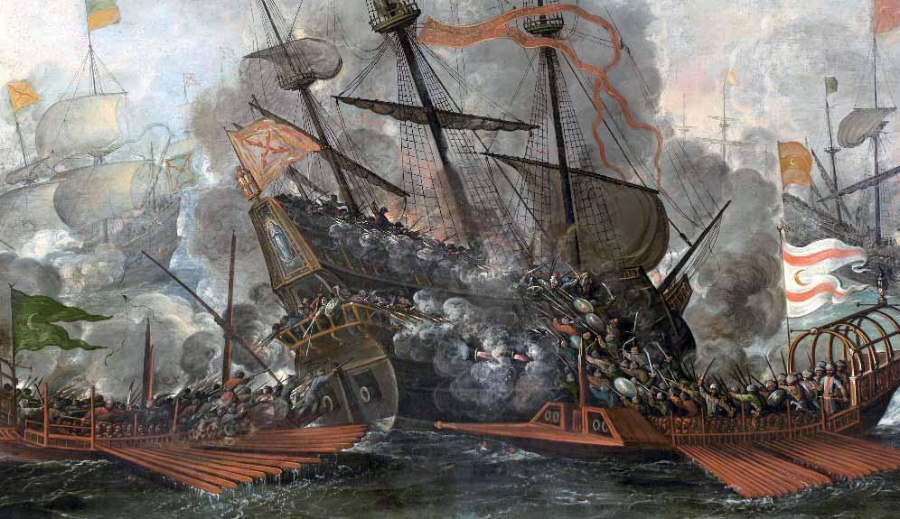 Combate naval de españoles y turcos. Esta sería una batalla naval muy parecida a la acontecida por Machín de Rentería.