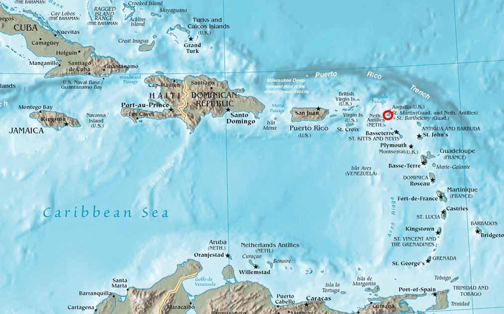 Mapa de las Antillas con la situación de la isla de San Martín