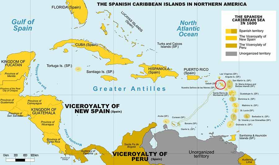 Mapa del Caribe sobre 1600
