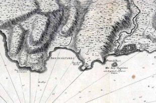 Detalle del Mapa de la Bahía de Algeciras de 1727 en el que podemos ver Algeciras y sus alrededores.