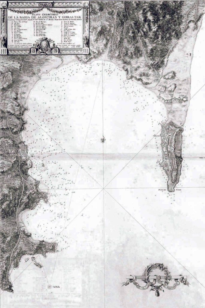 Plano geométrico de la bahía de Algeciras y Gibraltar.
