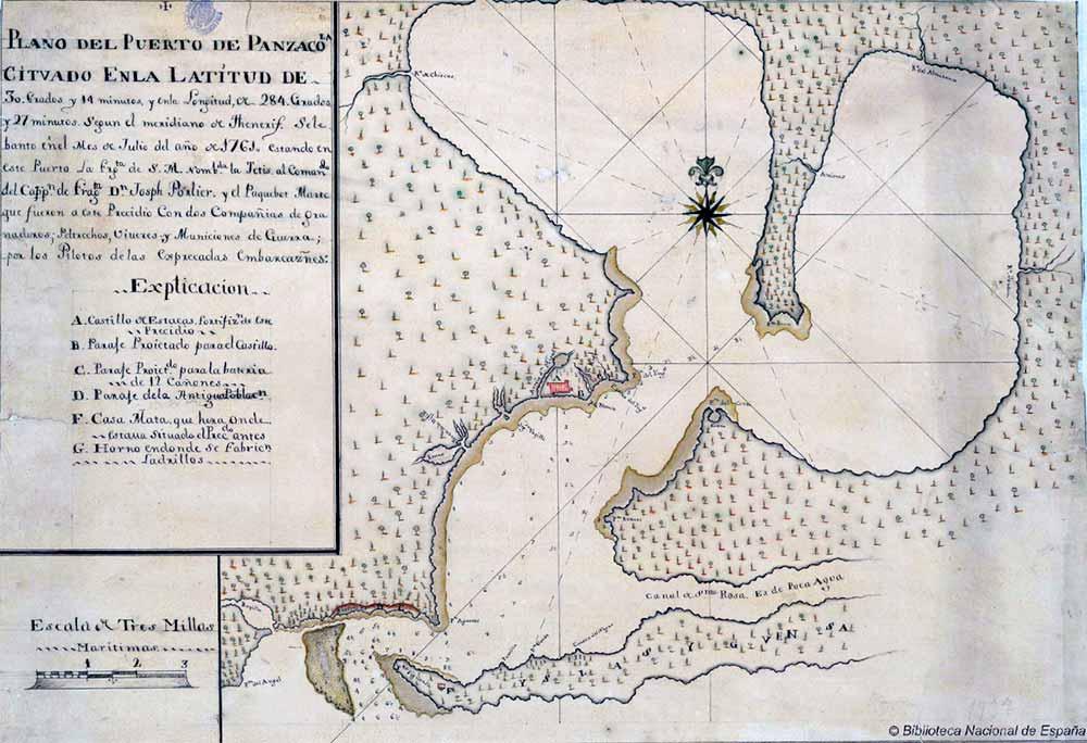 Plano del Puerto de Pensacola en 1761