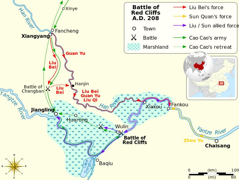 Mapa de situación donde se dio la batalla de Chibi o de los acantilados rojos